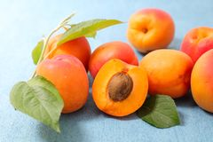 Apricot and leaf. Close up on apricot and leaf Royalty Free Stock Image