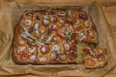 Apricot marijuana orange pie after baking stock photos
