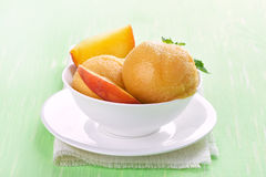 Apricot peach ice cream. In bowl, close up view Stock Photography