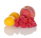 Apricot Peach Raspberry Stock Photo