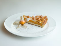 Apricot pie on a white plate. Apricot pie dusted with icing sugar, decorated with physalis royalty free stock photography