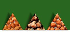 Apricot pits, hazelnuts and walnuts inside three triangles Royalty Free Stock Photography