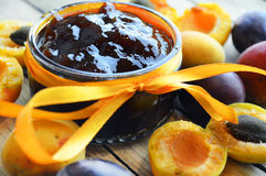 Apricot and plum jam Royalty Free Stock Photography