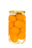Apricot preserves. Jar of Apricot preserves isolated Stock Photography