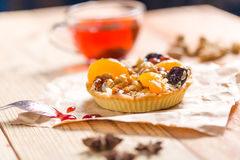 Apricot prune tart. Served with tea Royalty Free Stock Photo