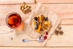 Apricot prune tart. Served with tea Royalty Free Stock Photos