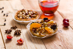 Apricot prune tart. Served with tea Stock Image