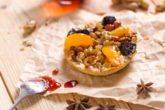 Apricot prune tart. Served with tea Royalty Free Stock Image