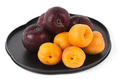 Apricot and Prune on the tray Stock Photography