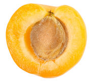 Apricot sectioned by knife Royalty Free Stock Photography