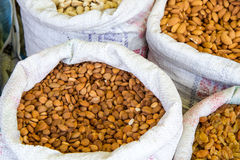 Apricot seeds on a market in India Royalty Free Stock Photos