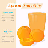 Apricot smoothie recipe. Menu element for cafe or restaurant with ingridients and nutrition facts in cartoon style. For Royalty Free Stock Photography