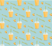 Apricot smoothie seamless pattern. Cover for summer menu Stock Image