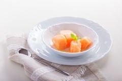 Apricot sorbet on a white plate. Apricot sorbet, natural sweet on a white plate Stock Photo