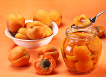 Apricot in spoon stock images