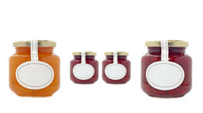 Apricot and strawberry jam jars Stock Photo