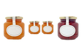 Apricot and strawberry jam jars Stock Images