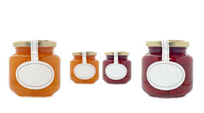 Apricot and strawberry jam jars Royalty Free Stock Image