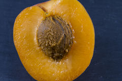 Apricot, sun sweet, prunus, halved, macro. Royalty Free Stock Photos