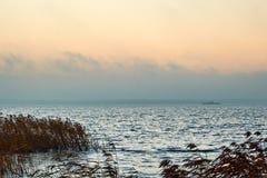 Apricot Sunrise. Misty Sunrise at Gooi Lake royalty free stock photos