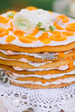 Apricot and tangerine layer cake Stock Photo