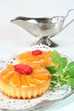 Apricot tart with lemon balm Royalty Free Stock Image
