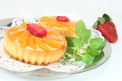 Apricot tart with lemon balm Royalty Free Stock Photo