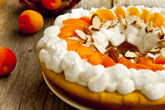 Apricot Tart with Whipped Cream Stock Photo