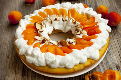 Apricot Tart with Whipped Cream Royalty Free Stock Photos