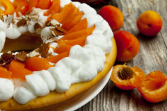Apricot Tart with Whipped Cream Stock Photos