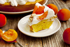 Apricot Tart with Whipped Cream Royalty Free Stock Image