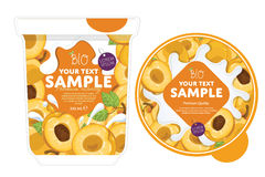 Apricot Yogurt Packaging Design Template. Royalty Free Stock Photo