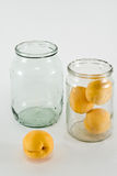 Apricots. Placed in a glass jar, prepared for canning Royalty Free Stock Photography