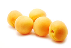 Apricots. Closeup apricots on white background stock photo