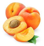 Apricots. Fresh apricots over white background stock photography