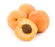Apricots. Fresh apricot fruits isolated on white background Royalty Free Stock Images