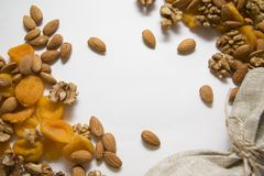 Apricots, almonds and walnut with copy space Royalty Free Stock Image