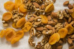 Apricots, almonds and walnut Royalty Free Stock Photos