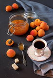 Apricots, apricot jam and cup of coffee Royalty Free Stock Photo