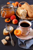 Apricots, apricot jam and cup of coffee Stock Photography