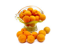 Apricots in a basket. Apricots fruit in a glass basket Stock Photos