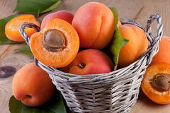 Apricots in basket on wood background Stock Image