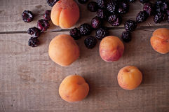 Apricots and blackberries Stock Photography