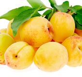 Apricots are a bunch with leaves Stock Image