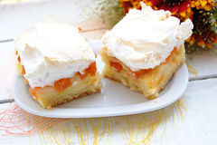 Apricots cake with meringue Stock Photos