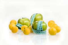 Apricots and centimeter Royalty Free Stock Images