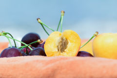 Apricots and Cherries. Apricots and Cherries with the sea blurred background Royalty Free Stock Photo