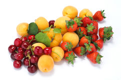 Apricots, cherries and strawberries Royalty Free Stock Photo