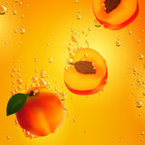Apricots Falling in Liquid Royalty Free Stock Photo