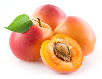 Apricots. Fresh organic fruit isolated on white background Royalty Free Stock Photo